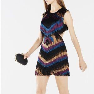BCBG Ondria Multicolor Chevron Cut Out Mini Dress